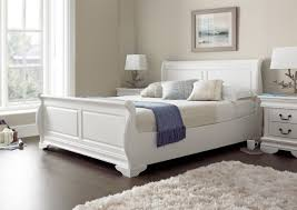 White Wood King Bedroom Sets King Size Beds For Sale With Mattress Sleigh Bedroom Furniture 5