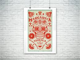 cocktail recipes poster day of the dead dia de muerto margarita cocktail print