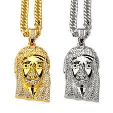 necklace chains hip hop images Men 39 s gold silver rhinestone chain hip hop jesus zinc alloy jpg