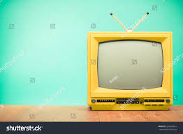 Green Tv Retro Old Yellow Tv Front Turquoise Stock Photo 220485664