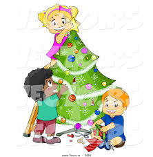 cartoon vector of happy kids decorating a christmas tree together