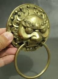 foo dog door knocker 9 cm folk brass fengshui foo fu dog guardion lion