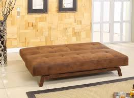 Wooden Sofa Bed Rustic Brown Top Grain Leather Tufted Fold Sofa Bed With Brown