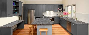 grey kitchen cupboards with black worktop grey quartz kitchen showroom granite tops uk