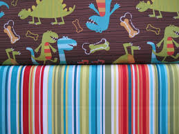 michael miller fabrics dino dudes and bungalow stripe yard duo