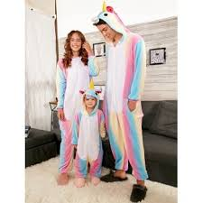 rainbow unicorn animal family onesie pajamas colormix