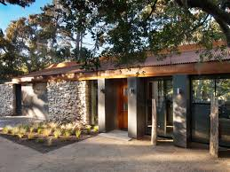 natural stone wall mid century bungalow interior design that can