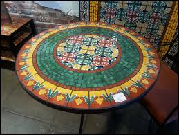 snazzy round shaped mosaic tabletop ideas for padded dining chair