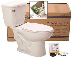 bathroom in a box toilet in a box with ada elongated bowl 1 6 gpf white