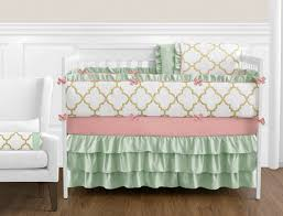 gold mint coral and white ava baby bedding 9pc girls crib set