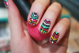 colorful aztec and tribal inspired nail tutorial youtube