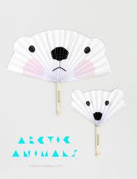 diy paper fans arctic animals diy paper fans mr printables