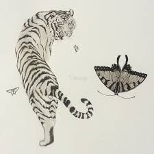 traditional tiger and butterfly ink painting by trazup
