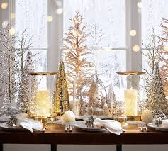 pottery barn christmas table decorations lit gold etched mercury trees pottery barn