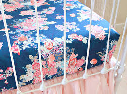 Navy And Coral Crib Bedding Navy Floral Crib Sheet Changing Pad Cover Navy And Coral