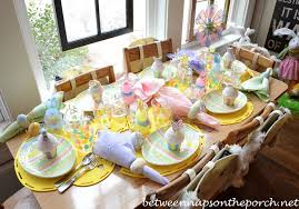 Easter Table Settings for the Children s Table with Cupcakes and