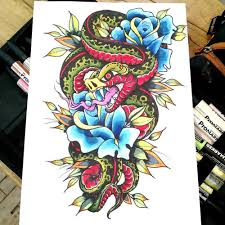 traditional snake with roses design