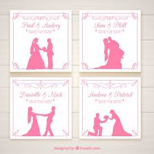 wedding invitations freepik wedding invitations with pink silhouettes vector free