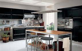 kitchen modern black and grey metal combination with wooden