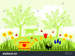 Image Of Spring Flowers by Vector Bed Spring Flowers Watering Can Stock Vector 219355591