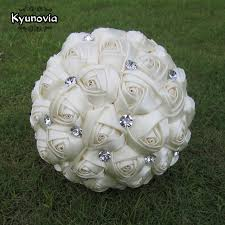 diy bridal bouquet kyunovia custom satin bouquet rhinestones ribbon wedding