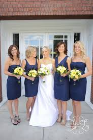 navy blue and yellow bridesmaid dresses