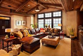 rustic living room furniture ideas with brown leather sofa coffee table rustic living room ideas with fireplace leather ottoman