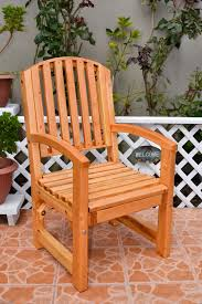 No Cushion Outdoor Furniture - arch back wooden dining chair handcrafted from redwood