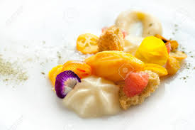 close up of creative modern and minimalist citrus fruit dessert