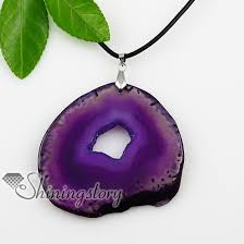 stone leather necklace images Agate semi precious stone necklaces pendants with leather jpg