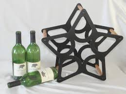 star 5 bottle custom metal and wood wine rack