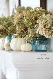 fall pumpkin decoration easy autumn decorating blue jars on the mantel french country