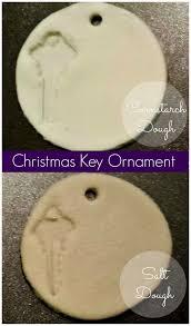key ornament comparing salt and cornstarch dough