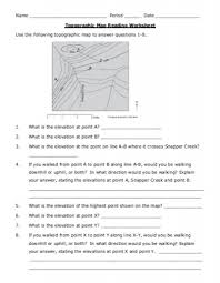 how to read topographic maps topographic map reading worksheet answers my