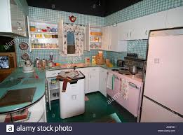 circa 1950 kitchen in a home at michigan historical museum at