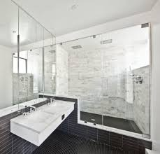 white marble tile bathroom contemporary with mosaic floor tile