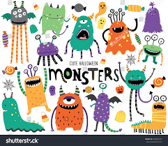 cute halloween cartoons cute scary halloween monsters candy stock vector 478637107
