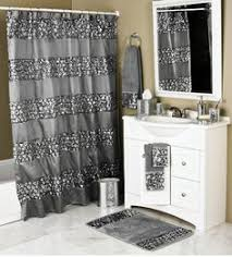 Sinatra Silver Grey Fabric Window Curtain W Sequins Guest Bath - Silver bathroom