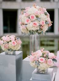 Square Vase Flower Arrangements Pink Rose White Hydrangea And Dusty Miller Arrangements Dusty
