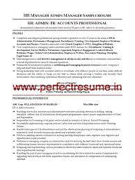 Manager Sample Resume Hr Manager Admin Manager Resume Sample Employment Recruitment