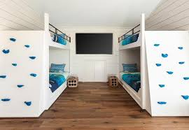Wall Bunk Beds Built In Bunk Beds With Climbing Wall Transitional Boy S Room