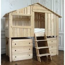 chambre cabane enfant lit cabane enfant finition brute 90 x 190 cm