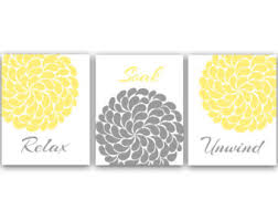 Yellow And Grey Bathroom Accessories Bathroom Canvas Or Prints Wall Art Relax Soak Unwind Aqua