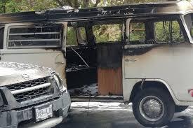 vw volkswagen van raging fire in vw van causes excitement on wark street in victoria