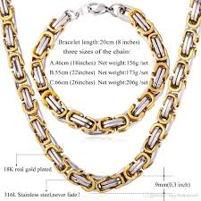 mens byzantine necklace gold images 2018 u7 punk chunky byzantine chain necklace bracelet set two tone jpg