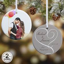 personalized ornaments personalized engagement photo christmas ornaments 2 sided