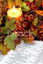 religious thanksgiving bible scripture with candle and fall de
