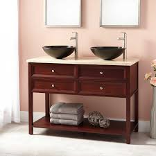 Double Basin Vanity Units For Bathroom by Montara Mahogany Vessel Sink Double Vanity With Makeup Area