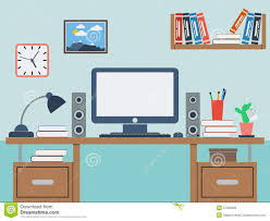 home workspace flat vector illustration royalty free stock image