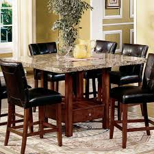 marble top counter height dining table using brown stained